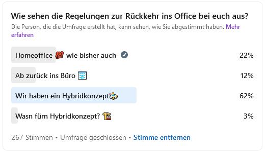 Umfrage zum Thema Rückkehr ins Büro. Hybrides Arbeiten